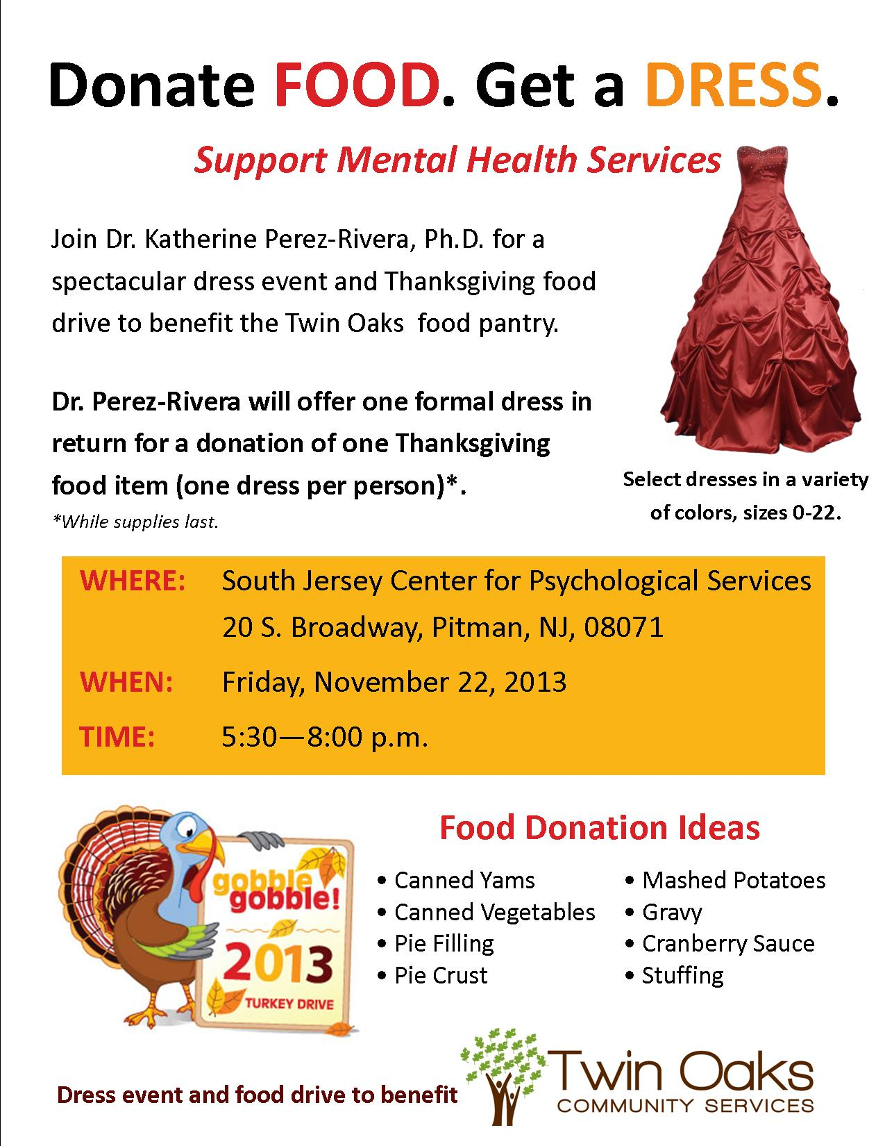 Dress Event to Benefit Our Thanksgiving Food Drive - Oaks ...