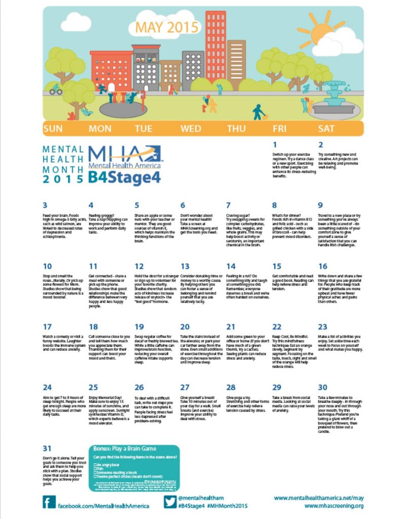Mental Health Month 2015 - Calendar