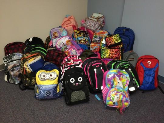 Stuffed backpacks from Gannett Fleming.